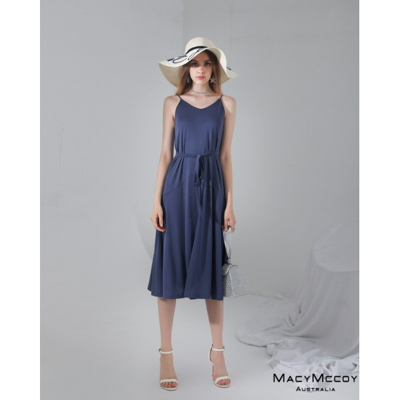 MacyMccoy Lace Long Dress-Blue
