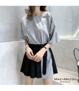 MacyMccoy Off-Shoulder Shirt&Skirt Set-Grey