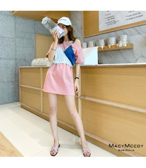 MacyMccoy Fake Two-Piece Dress-Pink
