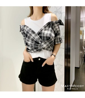 MacyMccoy Shirt&Short Sleeve Splice