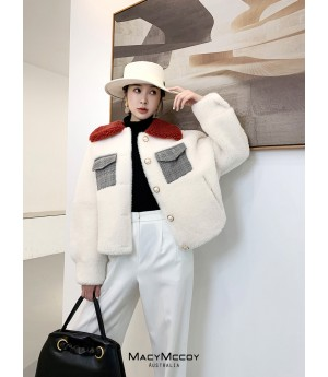 MacyMccoy Chanel Style Colored Wool Coat-Rice Color