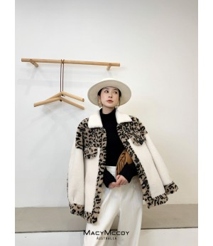 MacyMccoy Leopard Wool Coat-Long