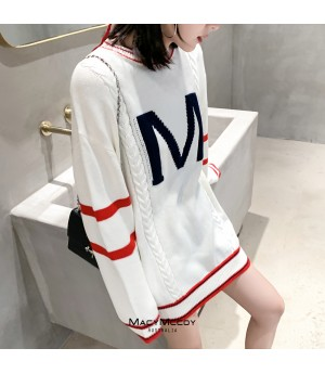MacyMccoy Letter Sweater-Dress-White