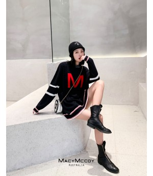 MacyMccoy Letter Sweater-Dress-Black