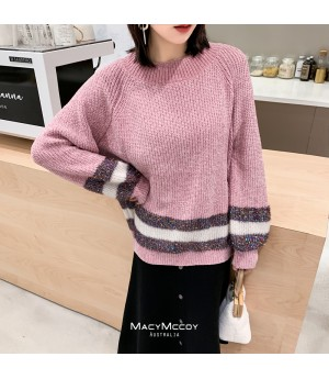 MacyMccoy Bright Silk Splice Sweater-Pink