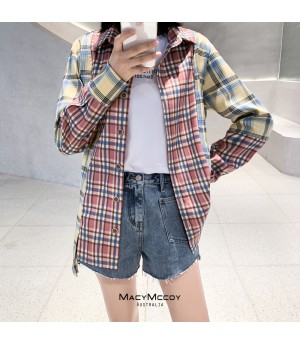 MacyMccoy Contrast Color Lattice Shirt