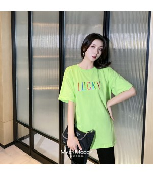 MacyMccoy Colorful Lucky Letter T-Shirt-Green