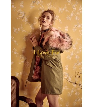 I Love Fur Army Parka with Fox Fur- Pink