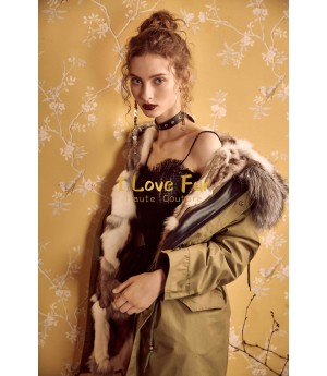 I Love Fur Army Parka with Natural Fox Fur