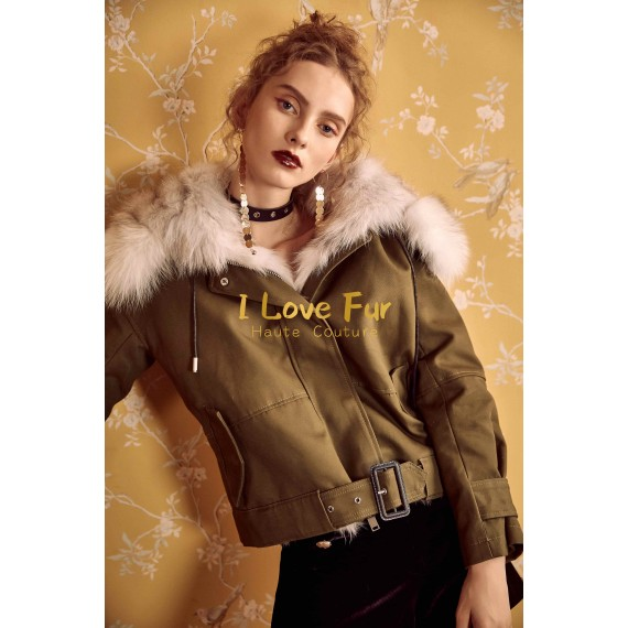I Love Fur Army Parka Jacket with Cross Fox Fur
