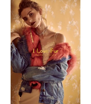 I Love Fur Army Denim Jacket with Pink Fox Fur
