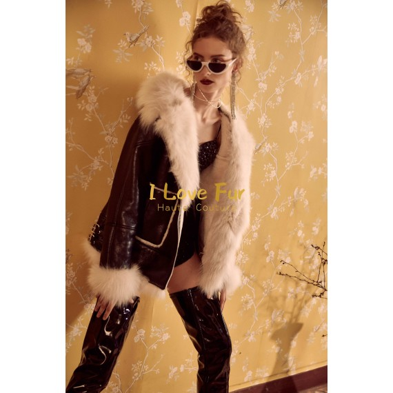 I Love Fur Black White Leather Jacket with Fur