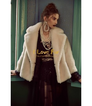 I Love Fur Teddy Short Coat- White