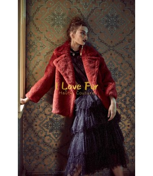 I Love Fur Teddy Short Coat- Dark Red