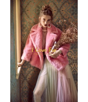 I Love Fur Teddy Short Coat- Pink
