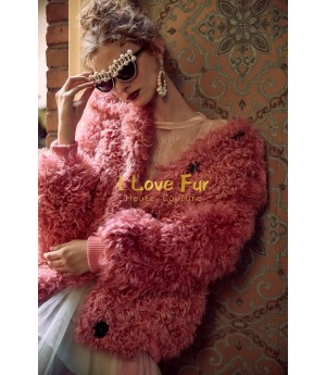 I Love FurI Wool Coat- Pink