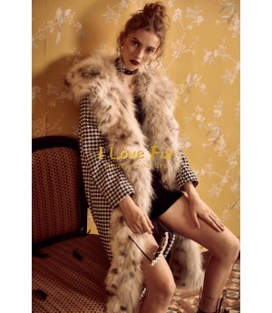 I Love Fur Houndstooth Long Coat with Coyote Fur