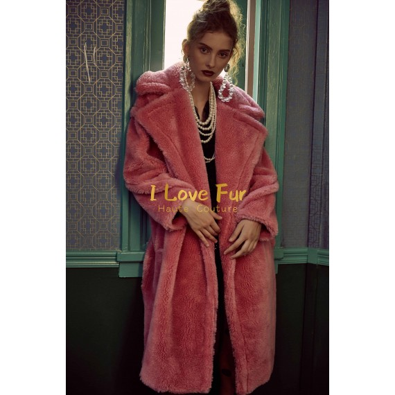 I Love Fur Teddy Long Coat- Pink