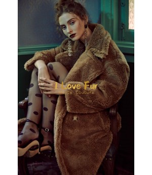 I Love Fur Teddy Long Coat- Brown