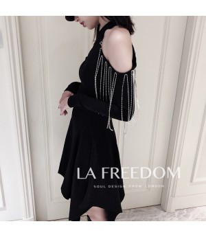 LA Freedom One Shoulder Black Dress