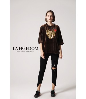 LA Freedom Heart T-Shirt-Brown