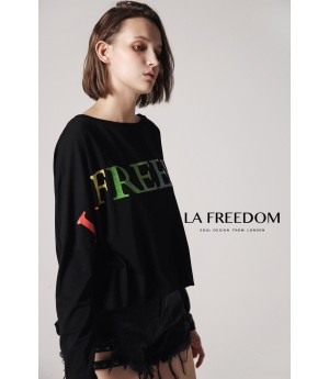 LA Freedom Letter T-Shirt-Black