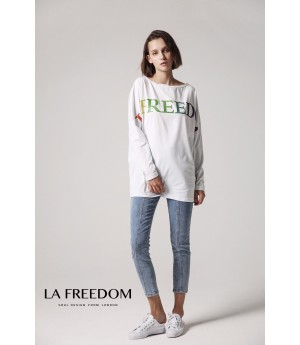 LA Freedom Letter T-Shirt-White