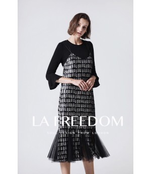 LA Freedom Black Mesh Dress