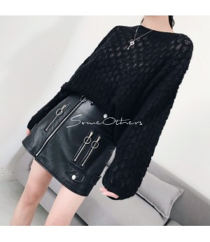 SomeOthers Round Collar Sweater-Black
