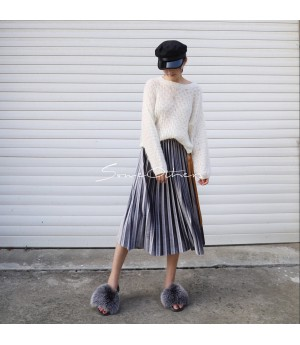 SomeOthers Midi Skirt-Silver