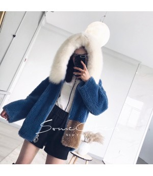 SomeOthers Fur Coat-Blue