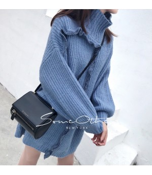 SomeOthers High Neck Sweater-Blue