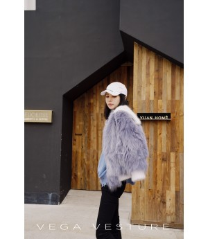 VEGA VESTURE Fox Fur Coat-Blue