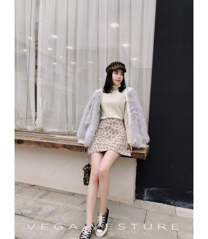 VEGA VESTURE Fox Fur Coat-Grey