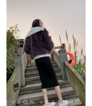 VEGA VESTURE Fox Fur Coat-Brown