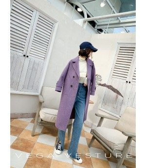 VEGA VESTURE Wool Coat-Purple