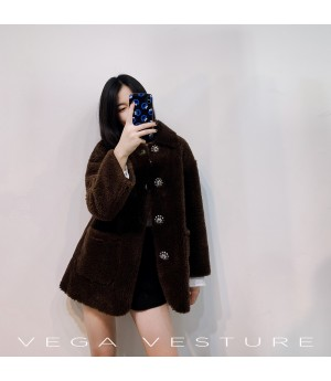 VEGA VESTURE Teddy Coat-Brown