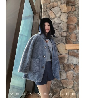 VEGA VESTURE Teddy Coat-Blue
