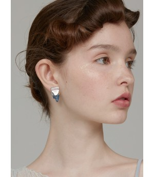 YVMIN Color Transparent Syrup Ear Studs-Silver&Blue