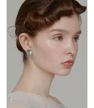 YVMIN Color Transparent Syrup Ear Studs-Silver&White