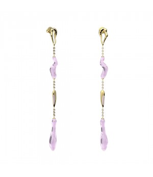 YVMIN Colorized shower Earrings-Gold&Mauve
