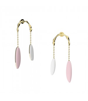 YVMIN Colorized shower Earrings-White&Pink&Gold