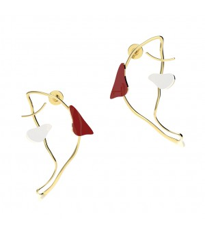 YVMIN Fish shadow Earrings with Color Enamel-Red&White