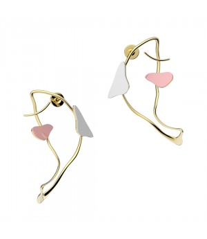 YVMIN Fish shadow Earrings with Color Enamel-White&Pink