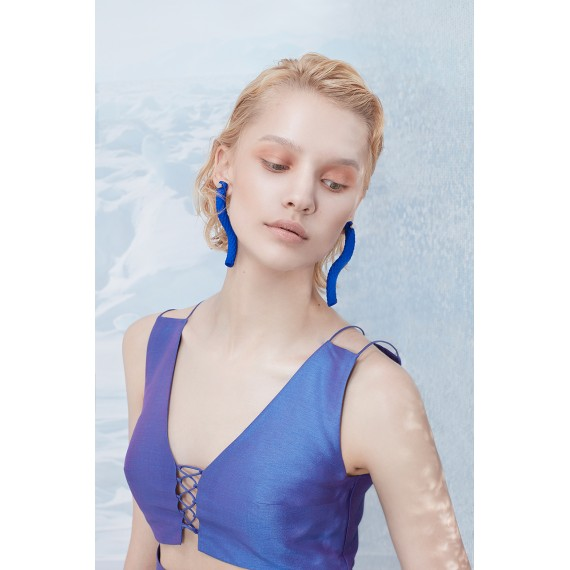 YVMIN Blue Earring With Rock Texture(One)