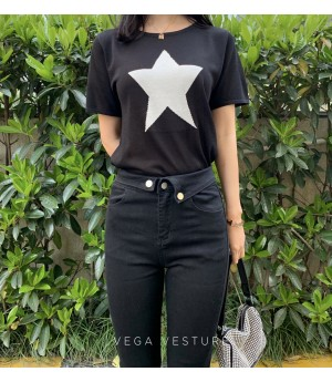VEGA VESTURE Star Silk Shirt-Black