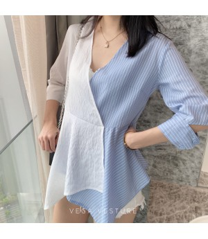 VEGA VESTUER Asymmetry Stripe Shirt