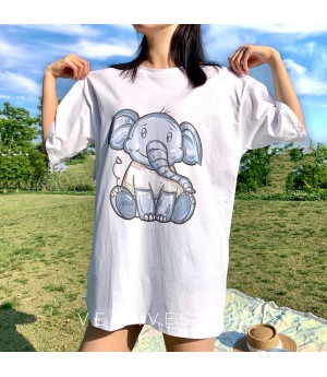 VEGA VESTUER Animal Pattern T-Shirt-Elephant