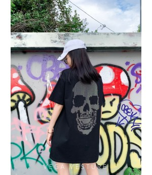 VEGA VESTURE Skull Diamond T-Shirt-Black
