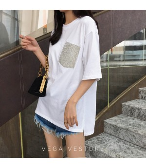 VEGA VESTURE Diamond Pocket T-Shirt-White
